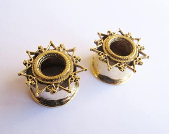 Plug Ear Tunnel Gold Color star Indian Design/golden Dilatations star Hindu style 18mm