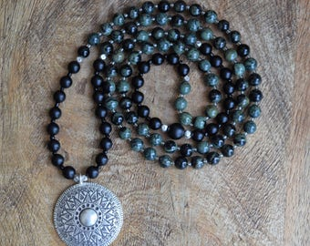 Tribal Mala / Kambaba Jasper / Black Onyx / 108 Bead Mala / Karen Hill Tribe Silver / Earthy Mala Necklace / Spiritual Jewelry / Mindfulness