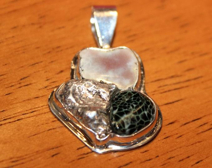 Silver,Chlorastrolite (Greenstone) & Datolite Pendant: SGD-N1