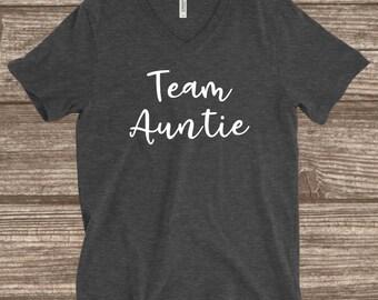Team Auntie Dark Heather Grey T-shirt - Aunt Shirts - Aunt T-shirts - Auntie Shirts - Auntie T-shirts - Team Auntie - Matching Aunt T-shirts