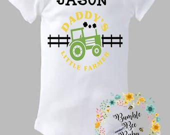 Personalized With Child's Name, Daddy's Little Farmer, Tractor, Farming Onesie or Tee - Super Cute - One That Will Make Daddy Proud!