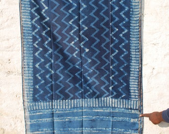 Handwoven Natural Indigo Cotton Silk Dupatta with Zari Border