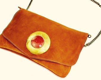 Brown suede leather Brown Purse - bag / Brown Handbag