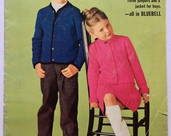 Vintage 1960's Patons knitting pattern booklet 723 - For girls and boys  - in Bluebell
