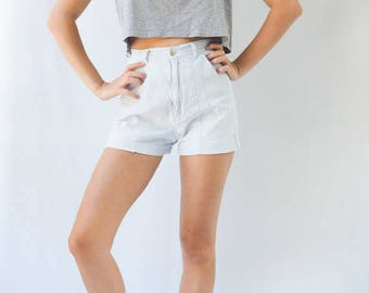 high waisted white striped denim shorts