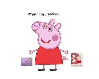 Peppa Pig Applique Design - buy Peppa get George for free - 2 designs instant download