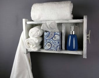 White Open Shelving Unit U2013 Beach Inspired Bathroom Shelves With Boat Cleats  U2013 18 Inch White