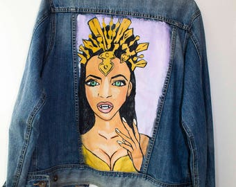 Handpainted Aaliyah denim Jacket size M oversized fit