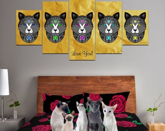 Fancy Pants Cat Multi-Panel Canvas Wall Art (Black) - Great Gift For Cat Lovers