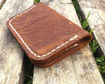 Wallet - Folding Minimalist Style in tumbled apache tan Horween Leather