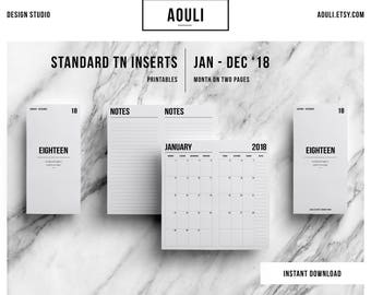 Standard TN Insert | Standard TN Size | Standard TN Printable Insert | Month on Two Pages | Travelers Notebook Insert | MO2P | Standard 2018