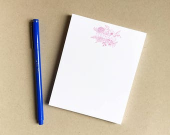 """Floral Doodle Notepad Small- Handwritten Personalized Stationery - Hand Drawn - Handmade 4x5"""" - Custom - Modern Calligraphy - Back to School"""