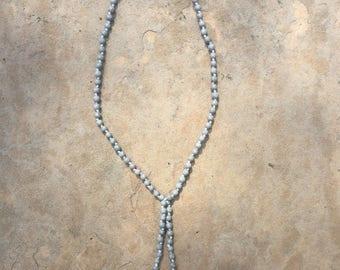 Gray Beaded Drop Necklace