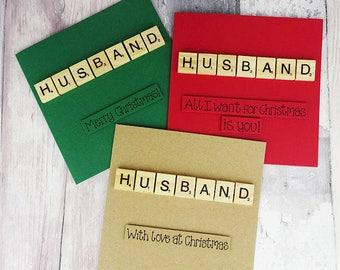 Husband Christmas card, Handmade Christmas Scrabble card, Merry Christmas, Wooden Scrabble tile card, Colour choice: Red, Green, Xmas card