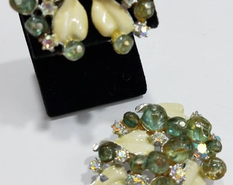 Gorgeous Beaded Rhinestone & Enamel Brooch with Matching Clip Earrings