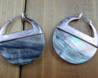 Vintage Abalone Shell Signed KC Earrings Dangle Circular Earrings Sterling Silver 21.3 Grams Southwest Native American
