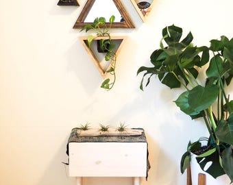 Triangle Wood Mirror, Triangle Mirror, Geometric Mirror, Mirror Triangle Shelf, Triangle Shelf, Bathroom Wall Decor