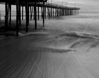 Wave Motion At  Nag's Head Fishing Pier, Outer Banks OBX, North Carolina, Black and White Landscape Print Photograph, Wall Decor