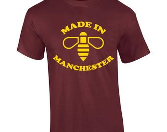 Made In Manchester Mcr Tribute Worker Bee Charity Gift Present T-shirt Mens Womens Tshirt Top Girls(mte_186_yell_mens)