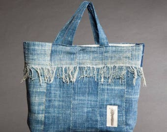 indigo fringed tote bag