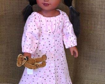 Flannel Pajamas w/Teddy Bear  - For 18 inch Doll Fits American Girl size dolls