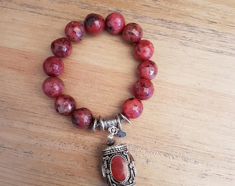 Woman-13, rusted and coral agate bracelet.