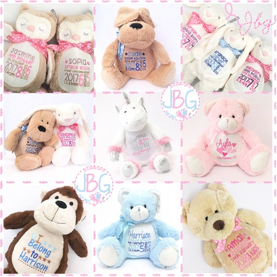 Jos baby gifts personalised teddy bear teddy bears embroidered baby teddy new baby giftpersonalised negle Image collections