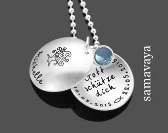 Baptism chain to the baptism of 925 Silver necklace engraved with tree of life gift for baptism