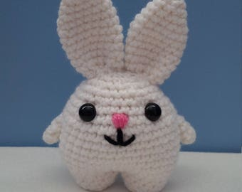 White Bunny with Embroidered Pink Nose and Mouth | Crocheted Bunny | Bunny Rabbit Stuffed Animal | READY TO SHIP