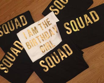 Birthday Girl Squad Shirt Set Gold Design Friends Matching Crew Group