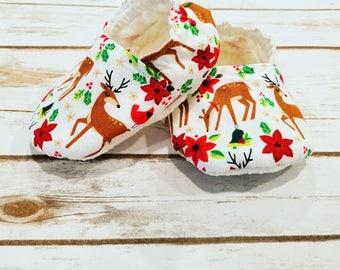 Christmas Baby Booties Christmas Baby Shoes Reindeer Baby Shoes Baby Booties Baby Shoes Crib Shoes Christmas Crib Shoes soft sole baby shoe