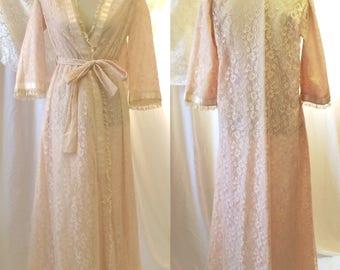 Vintage 1950's Ecru Lace Robe by Odette Barsa