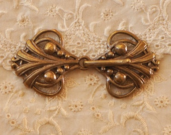 Antiqued Brass Hook and Eye Clasp Closure Up to 5 Strand for Necklace Bracelet 1 Piece