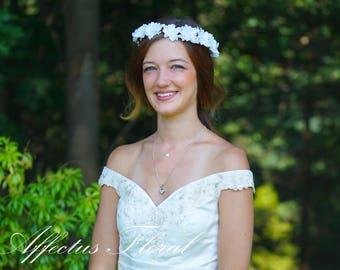 Bridal Flower Crown, Bridesmaid Flower Crown, Adult Flower Crown, Flower Girl Crown, White Flower Crown, Rustic Wedding