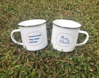 American Heritage Girls personalized enamel camp mug cup