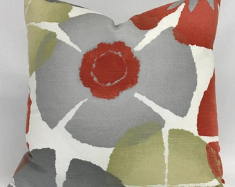 Pillow Cover - Modern Floral Design- Gray Burnt Orange Green Pillow- Gray Burnt Orange Pillow - Fully Lined Pillow - Invisible Zipper