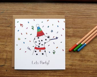 Lets Party Dalmatian Greetings Card - Cute Handmade Watercolour Puppy Celebration