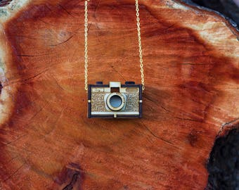Personalized Wooden Vintage Camera Necklace Handmade