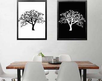 Set of 2 Abstract Tree of Life Prints Minimalist Prints, Abstract Art, Abstract Print, Large Wall Art Black and White Wall Art printable art