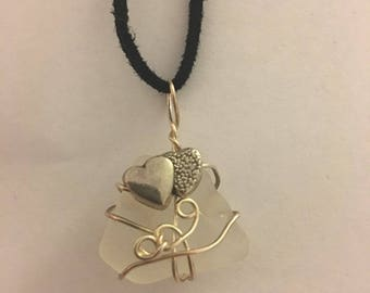 White sea glass necklace wrapped in silver wire with double heart bead