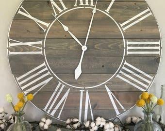 Big Wall Clock Roman Numeral Wall Clock Large Wall Clock Roman Numeral Big Clock Oversized Wall Clock Handmade Wooden Clock Big Clock
