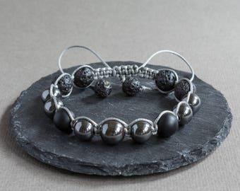 Mens Bracelet Shamballa bracelet Minimalist bracelet Lava stone bracelet Black onyx bracelet Hematite bracelet Bracelet homme Gift for him