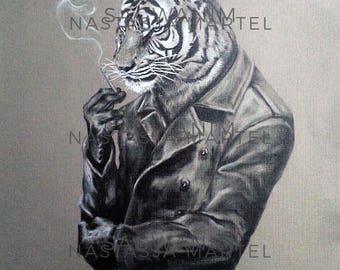 Smoking Tiger Print