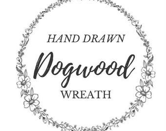 Hand Drawn Dogwood Floral Wreath- line drawing clipart, flowers, plants, botanical, rustic, romantic