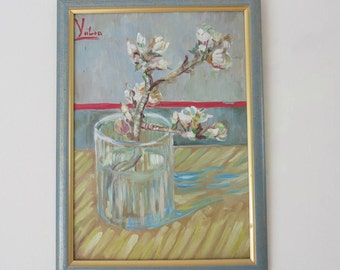 Blossoming Almond Branch in a Glass by Vincent Van Gogh inspired art, Oil Painting, 30x40 cm, Signed, Sakura in Blossom, Home Decor