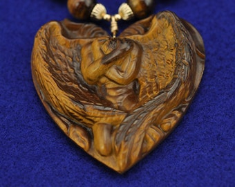 Tiger's Eye Carved Male Angel 14k gf Necklace