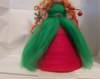 Christmas Tree Top Fairy, Green and Red Fairy, Needle Felt Fairy, Waldorf Inspired