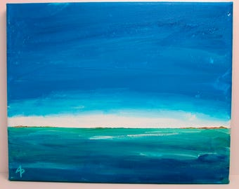 DISTANT LANDS #3 – OOAK Acrylic on Canvas Seascape Painting by Annie Palone
