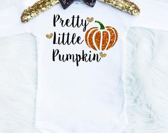 Baby Girl's Pretty Little Pumpkin Onesie - Thanksgiving Onesie - Halloween Onesie - Pumpkin Onesie - Pumpkin Shirt - Fall Onesie