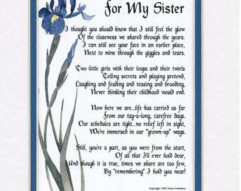 Gifts For Her, Gifts For Women, Gifts For Sister, Sister Print, Sister Poem, Sister Birthday, Sister Present, Sister Gift, Sister, My Sister